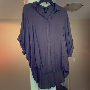 NWOT Forever 21 Large Collar Fashion Shirt Gray
